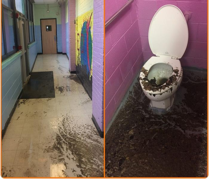 Commercial Sewage Loss at a local Youth Center. Before