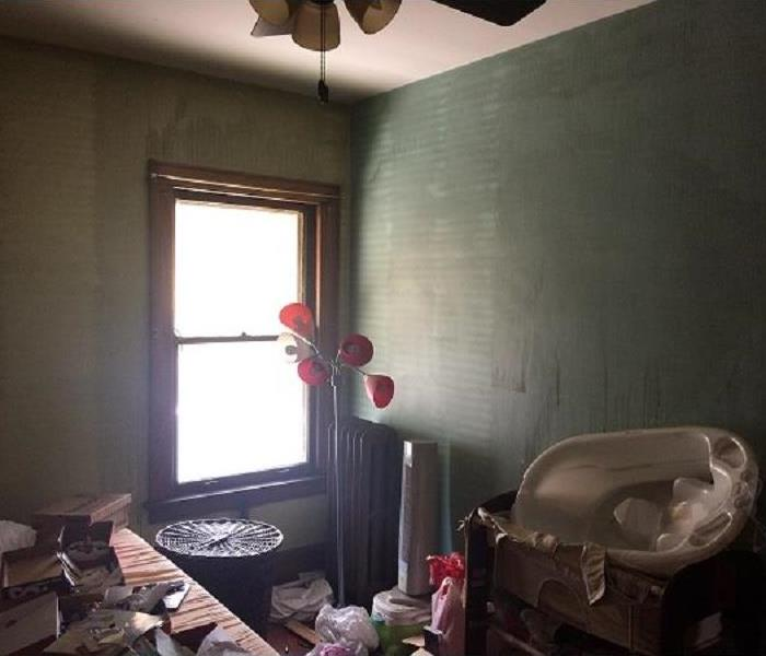 Fire and smoke damaged bedroom