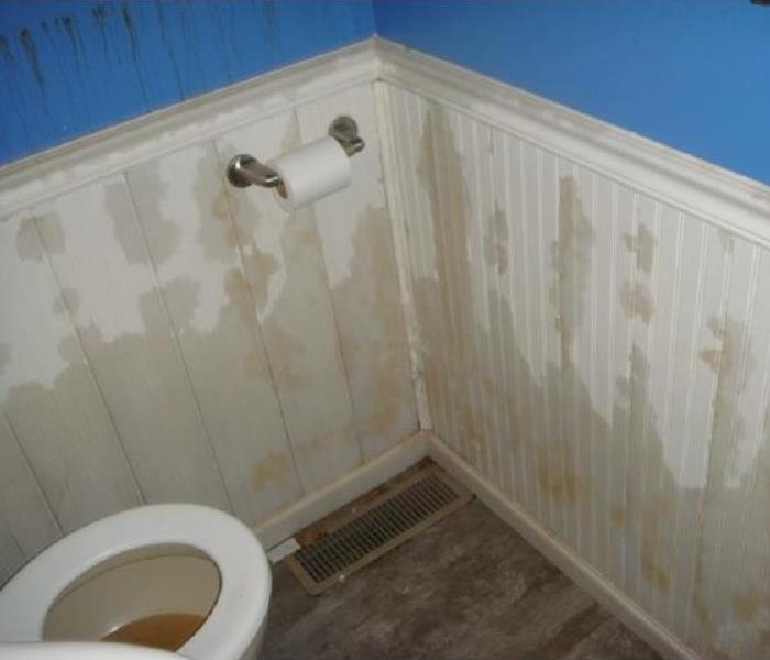 Water stained walls inside a bathroom