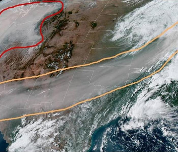Satellite image of smoke from California reaching the midwest